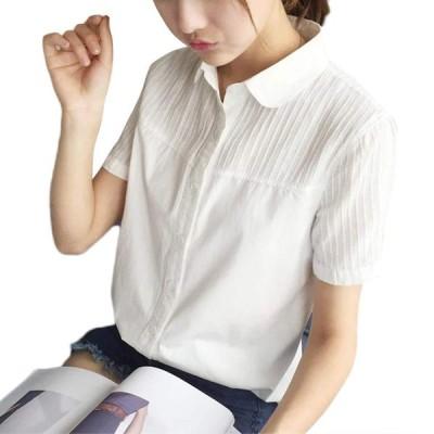 ASHERANGEL レディース 白シャツ コットン レース Yシャツ 通勤 OL 通学シャツ 長袖 お洒落 オフィス フォーマル 着痩せ