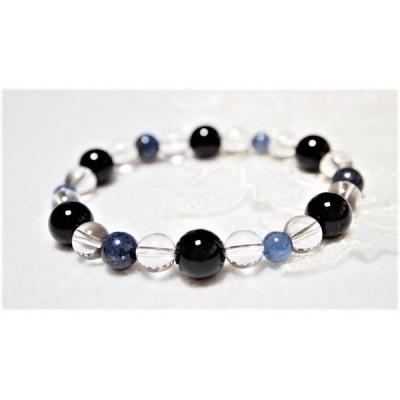 オニキス・ラピスラズリ・カイヤナイト・水晶のブレスレット 腕輪 アクセサリー 誕生石 あお アオ 青 ブルー 紺色 ネイビー 水色 黒 クロ くろ