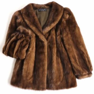 極美品▼カナダ製 MINK ミンク 本毛皮コート ブラウン 毛質艶やか・柔らか◎