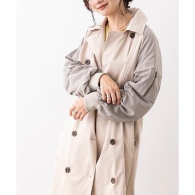 コート トレンチコート 薄中綿入り袖ドッキング トレンチコート