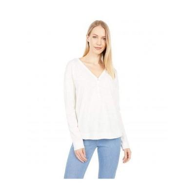 Mod-o-doc モッドオードック レディース 女性用 ファッション Tシャツ Slub Jersey Drop Shoulder Long Sleeve Boxy Henley - Ivory