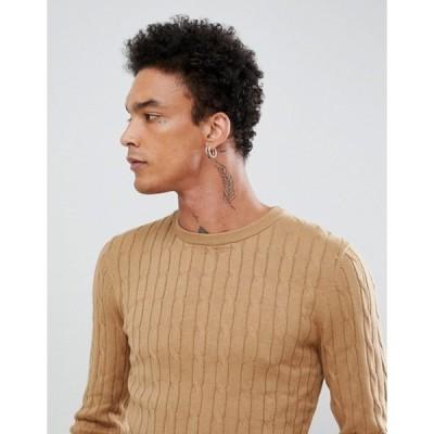 ジャンニ フェロー メンズ ニット・セーター アウター Gianni Feraud Premium Muscle Fit Stretch Crew Neck Cable Sweater