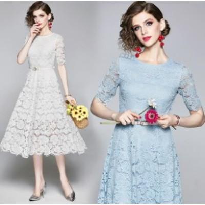 贅沢なレース パーティードレス 披露式 レディースファッション★ Aラインワンピース 結婚式 二次会 卒業式 20代 30代  欧米スタイル