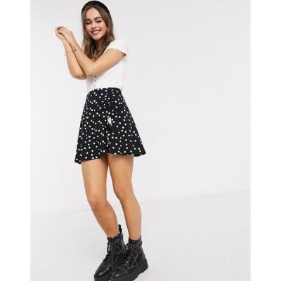 エイソス レディース スカート ボトムス ASOS DESIGN mini skirt with ruched detail in mono polka dot  Mono spot