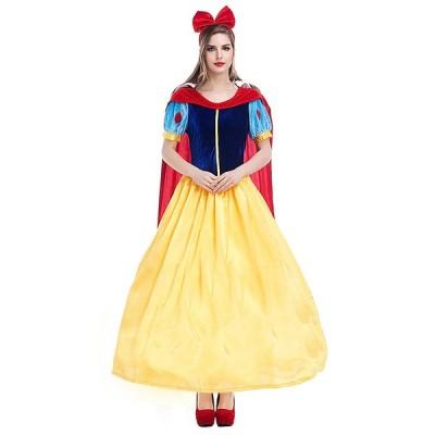 M586 ハロウィン 女性用 白雪姫 ワンピース プリンセスドレス スノーホワイト ミニ ミニスカ お姫様 コスプレ レディース なりきり 女王 大きいサイズ ドレス