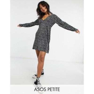 エイソス ミディドレス レディース ASOS DESIGN Petite plisse v neck mini swing dress in black and white floral エイソス ASOS マルチカラー