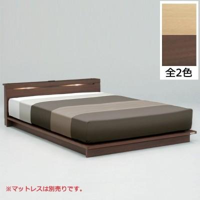 ダブルベッド ベッド コンセント付き 照明付き ロータイプ フロアベッド