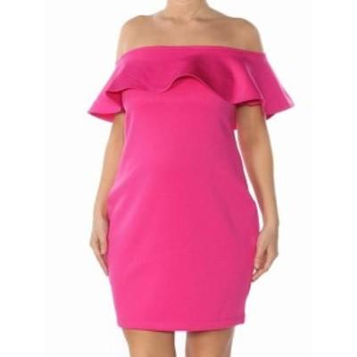 GUESS ゲス ファッション ドレス Guess NEW Magenta Pink Womens Size XS Scuba Ruffle-Trim Sheath Dress