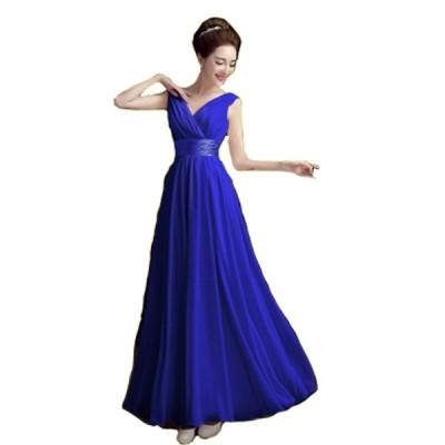 ロング カラードレス カクテルドレス ウェディング 演奏会用 ブルー 大きいサイズ