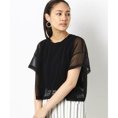 COMME CA/コムサ シフォンジャージー ポケット Tシャツ クロ 9号