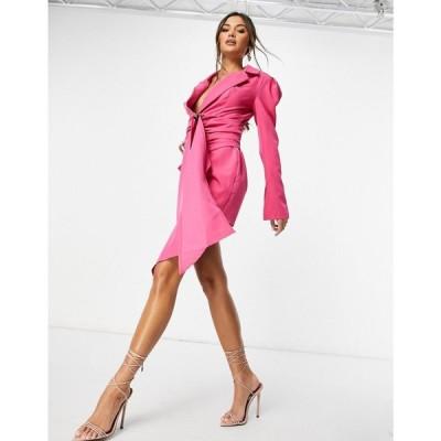 アイソウイットファースト I Saw It First レディース ワンピース ブレザードレス ワンピース・ドレス Shoulder Pad Drape Belted Blazer Dress ピンク
