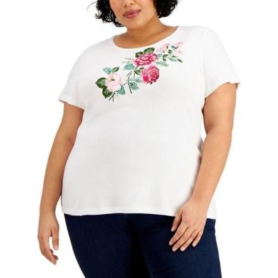 ケレンスコット レディース シャツ トップス Plus Size Cotton Embellished-Floral Top