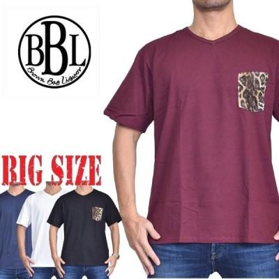 大きいサイズ メンズ BROWN BAG LIQUOR ブラウンバッグリカー Vネック 半袖Tシャツ ポケット付き V LEOPARDO 黒 白 ネイビー [M便 1/1] XXL XXXL