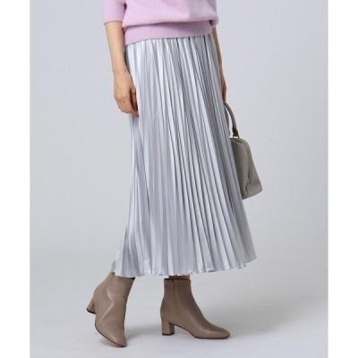 スカート 【洗える】チンツバルブサテンプリーツスカート