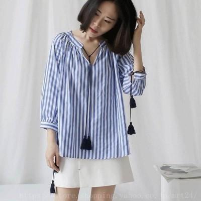 レディースリネンブラウスストライプシャツシンプル半端丈春夏トップスデイリーブルーフリーサイズワンサイズ