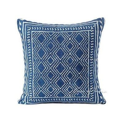 "Eyes of India - 20"" Indigo Blue Block Print Dhurrie Sofa Decorative Pillow"