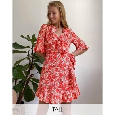 トップショップ レディース ワンピース トップス Topshop Tall wrap mini tea dress in red floral Red