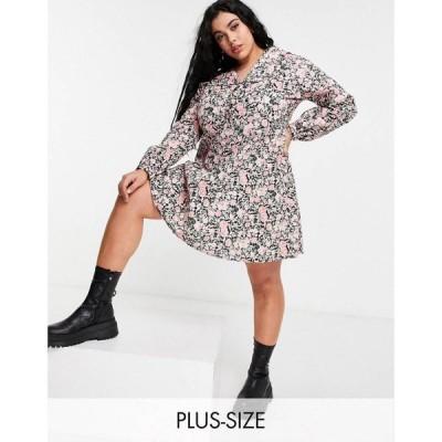 オンリーカーブ Only Curve レディース ワンピース ワンピース・ドレス shirt dress with collar detail in floral print ブラック