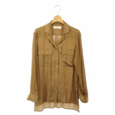 【中古】ザヴァージニア The Virgnia 胸ポケットテールカットブラウス シャツ 長袖 マットサテン 900 キャメル