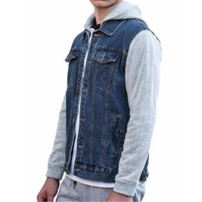 Lars Amadeus パーカー デニムジャケット スウェットシャツ ボタンダウン メンズ ブルー S