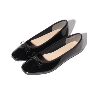 (Shoes in Closet/シュークロ)リボン スクエアトゥ  フラット パンプス  バレエシューズ  7441/レディース ブラックエナメル