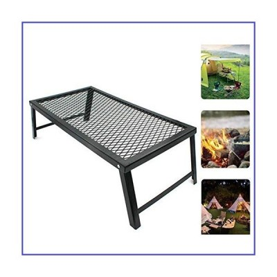 Folding Campfire Grill, Heavy Duty Portable Camping Grill Heavy Duty Over Fire Camp Grill with Legs Storage Rack for Outdoor Camping Cooking