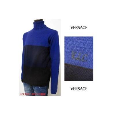 ヴェルサーチ VERSACE メンズ トップス ニット セーター VJCロゴ刺繍入りバイカラータートルネックニット ネイビー ブルー 18192 00259 (R29800) 5A