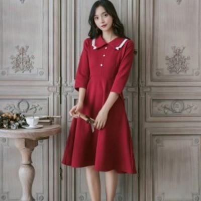 上品ワンピース ドレス 赤 黒 レディース シャツワンピース 長袖 襟付きワンピース 通販 きれいめ 人気 七分袖 ワンピ レッド ブラック