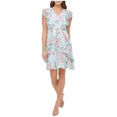トミー ヒルフィガー レディース ワンピース トップス Victoria Floral Flutter Sleeve Chiffon Dress Seaspray Multi