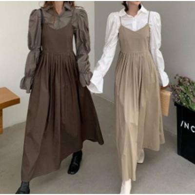 2色 ジャンパースカート プリーツ ロング フレア ゆったり カジュアル 大人可愛い レトロ 韓国 オルチャン ファッション
