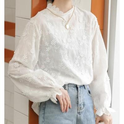 韓国風 白い 長袖レースシャツ 修身 上着 薄手 刺繍ブラウス 大人きれい おしゃれ トップス 韓国風 ゆったり 森ガール ブラウス 通勤 OL 刺繍 20代30代 学生