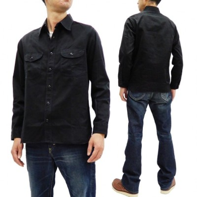 バズリクソンズ ヘリンボーン ワークシャツ BR26081 メンズ 無地 長袖シャツ ブラック 新品