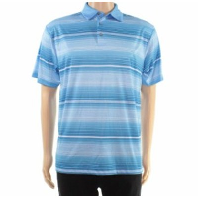 HEATHER  ファッション アウター PGA Tour Mens Shirt Blue Heather Size Medium M Stripe Stretch Polo Rugby