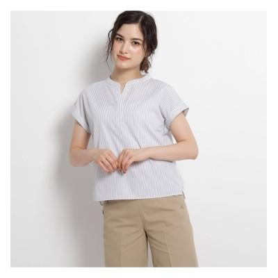 【デッサン/Dessin】 【S~Lサイズあり・洗える】スリットネックフレンチスリーブシャツ