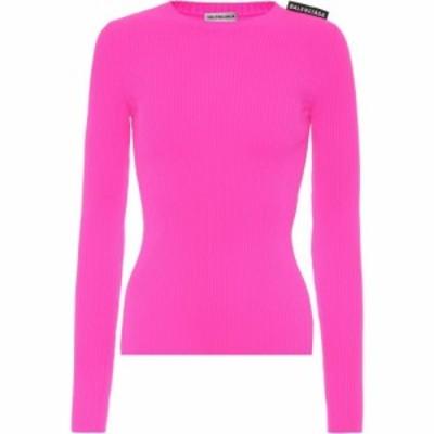 バレンシアガ Balenciaga レディース ニット・セーター トップス Technical ribbed-knit top Fluo Pink