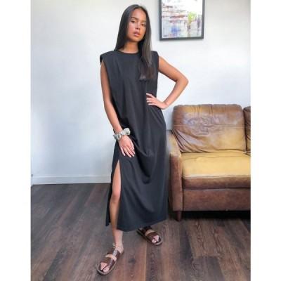 ウィークデイ Weekday レディース ワンピース ワンピース・ドレス Kai Organic Cotton Jersey Dress With Shoulder Pads In Black ブラック