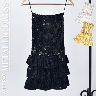 メタリックワンピース | スパンコール メタリック ワンピース ドレス 衣装 ダンス ダンス衣装 ヒップホップ ガールズ 金 銀 黒 ブラック