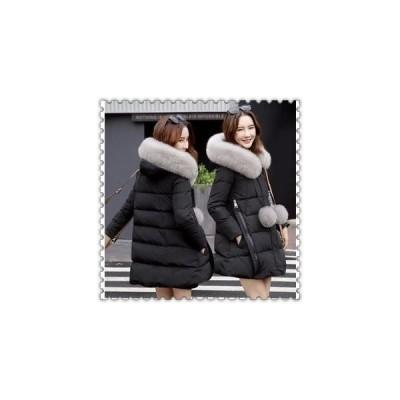 ダウンジャケットレディースダウンコートAラインロング可愛いファーフードアウター冬防寒服着痩せ