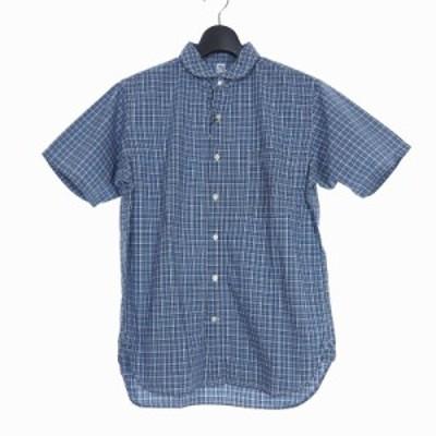 【中古】未使用品 カトー KATO` ラウンドカラー チェック シャツ 半袖 ポケット M ブルーホワイト BS510371R メンズ