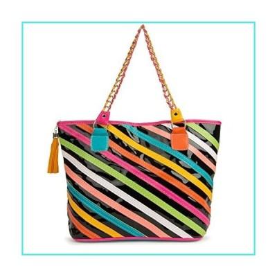 【新品】Vangoddy Women Colorful Patent Leather Top Handle Satchel Handbags Tote Purse, Diagonal Stripe(並行輸入品)