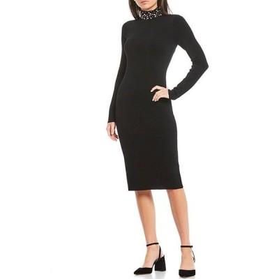 エリザジェイ レディース ワンピース トップス Beaded Pearl Turtleneck Long Sleeve Knit Midi Dress
