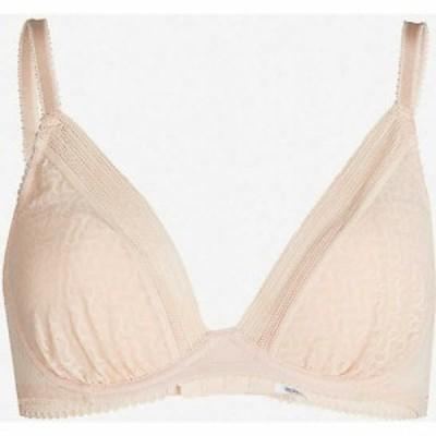ワコール WACOAL レディース ブラジャーのみ インナー・下着 Aphrodite moulded-cup stretch-lace plunge bra POWDER