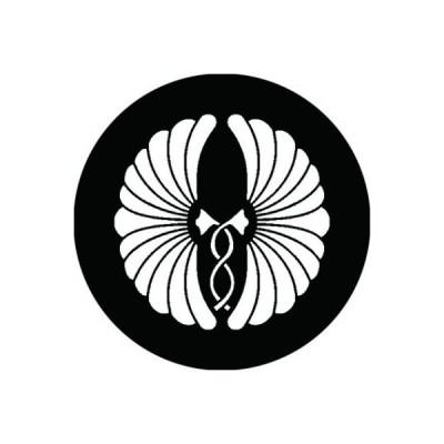 家紋シール 白紋黒地 抱き菊 布タイプ 直径40mm 6枚セット NS4-2858W
