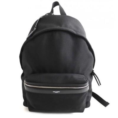美品▽サンローランパリ 465448 シティ ロゴ入り レザー使い バックパック/リュック ブラック イタリア製 保存袋付き メンズ