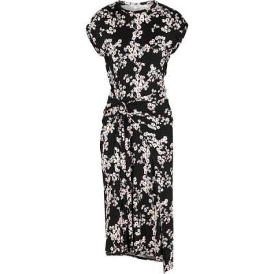 パコラバンヌ Paco Rabanne レディース パーティードレス ミドル丈 ワンピース・ドレス Black Floral-Print Jersey Midi Dress Black