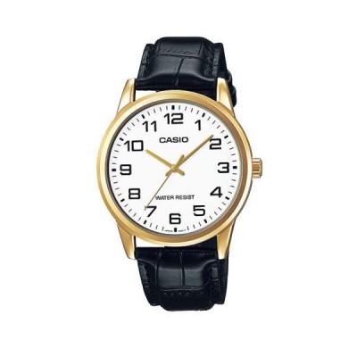 腕時計 カシオ Casio Men's Black Leather Strap Watch, White Dial, MTP-V001GL-7B