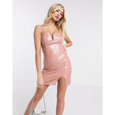 レア レディース ワンピース トップス Rare London PU bodycon mini dress in pink Pink
