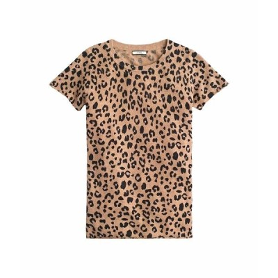 ジェイクルー シャツ トップス レディース Leopard Printed Short Sleeve Tee in Cashmere Heather Camel Mod Leopard