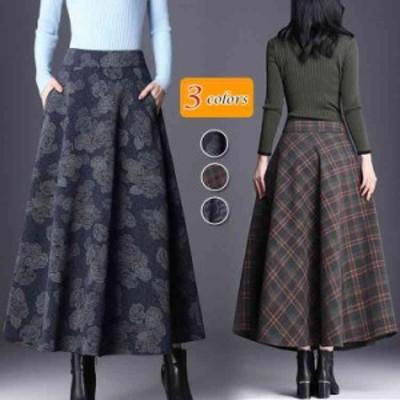 スカート 秋冬 40代 ロングスカート ミモレ丈 チェック柄 大きいサイズ ラシャスカート Aラインスカート レディース ボトム