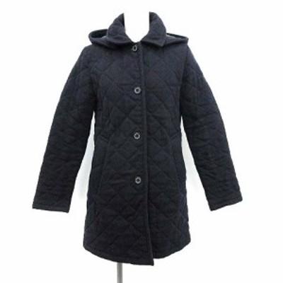 【中古】トラディショナルウェザーウェア キルティングコート 中綿 アウター ロング フード ウール 34 S 紺 ネイビー